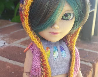 Hand-knit Doll Sweater for Makie: PINK, PURPLE, GOLD, and Sparkles!