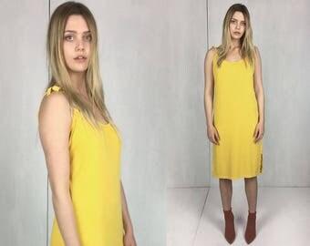 70s Yellow Jersey Tank Dress