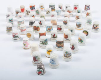 Large Collection Of Ceramic Travel Thimbles, Collectibles, Sewing, Finger Protectors, Vintage, Souvenirs From Places ~ Pink Room ~ 161205