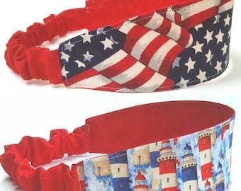 Patriotic Headband Set, Reversible Headbands, Elastic Headbands, Red Headband, Blue Headband, Vacation Headbands, Summer Outdoors