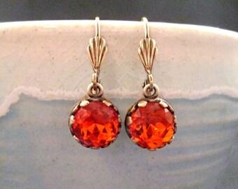 Rhinestone Earrings, Bright Orange Glass and Brass Dangle Earrings, FREE Shipping U.S.