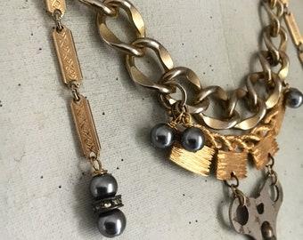 Wound Up Vintage Clock Key Necklace, Vintage Assemblage Necklace