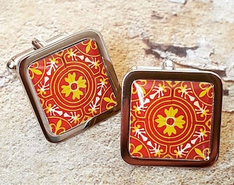 Moroccan Flame Tile Cufflinks