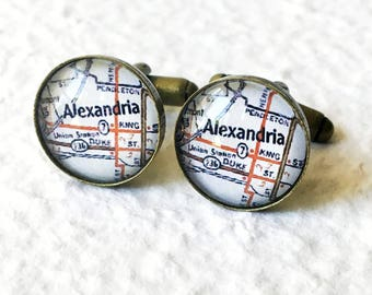 Alexandria Map Cufflinks Cuff Link Set - Featuring King Street Virginia - Great Groomsmen Gift for Wedding Party