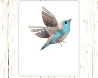 Blue Waxbill Print -- bird art -- colorful bird art by stephanie fizer coleman illustration