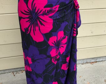 Bright pink and purple hibiscus print-Pareo-solid color-full and half sized-rayon- sarong, pareau-fringeless