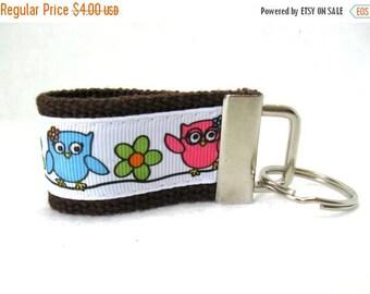 20% OFF Owls Mini Key Fob - BROWN Owls on a Branch - Owl Key Chain - Owl Luggage Identifier - Small Owl Key Ring