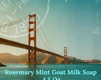 Rosemary Mint Goat Milk Soap, All Natural Soap tingly mint soap,  olive oil soap, essential oil soap, for sensitive skin, cold process soap,