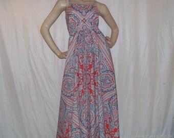 Hippie Maxi Sundress Paisley Bandana Pastiche Martex Upcycled Vtg Sheet Red Blue Tapestry Mandala Cruise Resort Boho Long Dress Adult M L XL