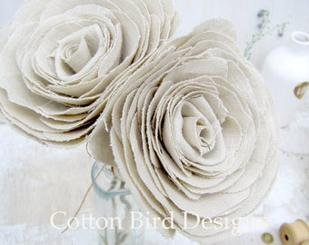 4th Anniversary Natural Linen Fabric Flowers set of 2  Gift for Her Wife Girlfriend Fiancee Linen Flower - Made to Order