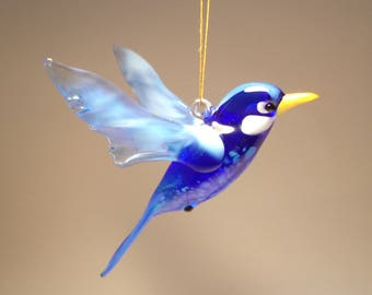 Handmade Blown Glass Figurine Art Hanging Blue Bird Bluebird Ornament