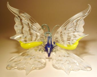 Blown Glass Figurine Art Insect White Striped Hanging BUTTERFLY Ornament with a Hanging Hook