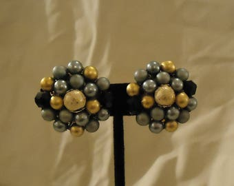 Cluster Style Clip On Earrings Made in Japan Grey Gray Charcoal Gold White Speckled Resin Black Glass Beads Round Shaped Vintage 1960's