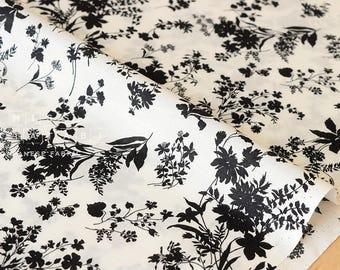 Japanese Fabric silhouette foliage - cotton lawn - black, cream - 50cm