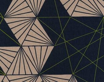 Japanese Fabric Kokka Tayutou - multifaceted - navy, peach - 50cm