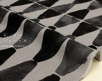 Japanese Fabric painted diamonds - charcoal grey - 50cm