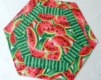 Quilted, Reversible Octagon Large Candle Mat, Table Topper, Centerpiece, Watermelon Slices, Seeds and Rind, Handmade Table Linens