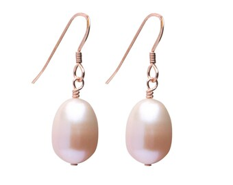 Freshwater Pearl Earrings, Natural Pearl Drop Earrings, Pearl and Rose Gold-fill Earrings, Bridal Jewelry, Peach Pearls, Pink Pearls