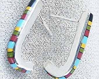Sterling Silver Inlay J-Hoop Earrings