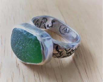 Recycled Green Seaglass Ring