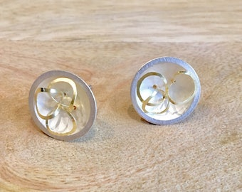 Silver Dome and Gold Loop Earrings