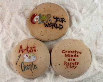Painted Rocks, Artist Create, Creative Minds are Rarely Tidy, Color Your World Set of 3 Ceramic Message Stones,  Rock Art