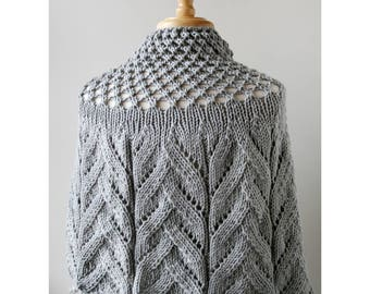 LIGHT GREY Sequoia Merino Wool Knit Capelet, Chunky, Lace, Hand Knit, Made in New York, Soft, Hygge, Sweater, Poncho, Wrap, Cape, Winter