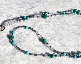 Green/Turquoise and Crystal Beaded Lanyard