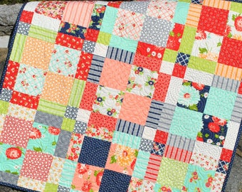Baby Quilt Pattern, fast, easy, beginner, 2 charm packs, Lap Twin Full Queen sizes.....Family Ties