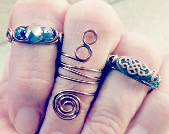 ON SALE Celtic Stackable Midi Statement Rings Set of 3, Hippie Boho Gypsy Ring, Knuckle Ring Set,Woodland Festival Rings in Antique Copper