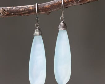 Blue chalcedony teardrop faceted earrings with silver wire wrapped on oxidized sterling silver hooks style