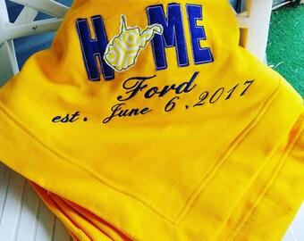 Personalized West Virginia Gold or Blue DryBlend Performance Fleece Stadium Blanket