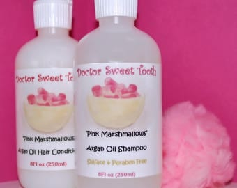 PINK MARSHMALLOWS Argan Oil Shampoo & Conditioner Set (Sulfate and Paraben Free)