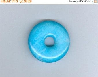 PI DAY SALE Blue Focal Donut, 32mm Sky Blue Jade Gemstone Pi Donut Focal Pendant Bead 1087M1