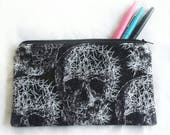 black and white skull zipper pouch, with glittered sparkle, Halloween, skeleton pencil or cosmetic makeup bag, ID# ZP12