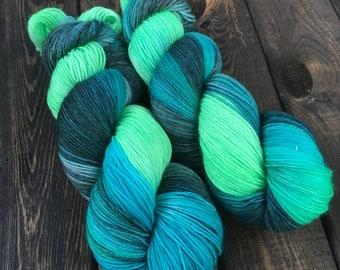 Hand Dyed Sock Yarn - Classic Sock - 75/25 Superwash Merino Wool/Nylon - 100g skein - Mackenzie Delta