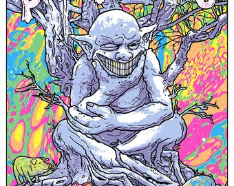 Primus Knoxville Tennessee Ambushing The Storm Desaturating Seven Rainbow Goblin Les Claypool Psychedelic Gigposter Poster by GIGART