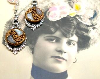 Art Nouveau BUTTON earrings, Edwardian leaf & ribbon in glass on silver. Antique button jewellery.
