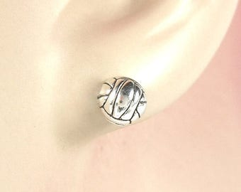 SALE Earrings Volley Ball Sterling Silver Sports Minimal Ear Studs no. 3519