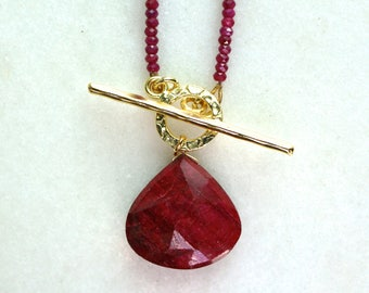 AAA MODERN RUBY Focal Pendant, Ruby Strand Lariat necklace in 14kg fill...