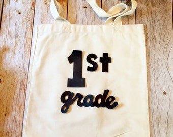 1st grade present first day of school tote teacher gift kids girls boys 2nd 3rd 4th 5th back to school photo sign supplies pencil erasers