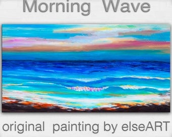 Sale Original abstract painting Sea art Sun Shine Beach Wave on gallery wrap canvas oil painting home art by tim Lam 48x24