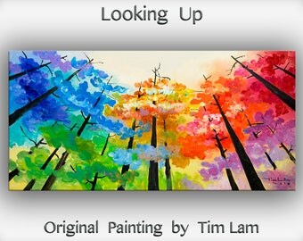 Original Painting Looking Up Forest art, huge mural oil painting Autumn forest rainbow colors by Tim Lam 48x24x1.5