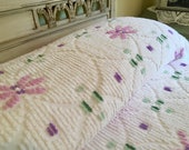 Reserved for Sasha - Vintage Chenille Bedspread - Snowy White with Lavender Purple and Greens Flowers - All Cotton Twin Blanket with Fringe
