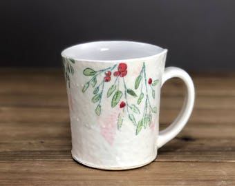 Winterberry Mug, handmade ceramics, holiday mug, gift idea