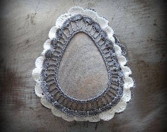 Lace Stone, Crocheted, Triangular, Table Decorations, Original, Handmade, Home Decor, Gray, White, Ruffled, Monicaj