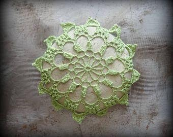 Crocheted Lace Stone, Light Green, Original, Handmade, Home Decor, Unique, Collectible, Monicaj