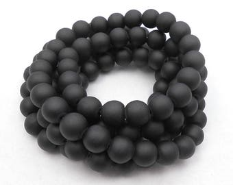 50 Matte Black Glass Beads 8mm frosted glass round (H5021)