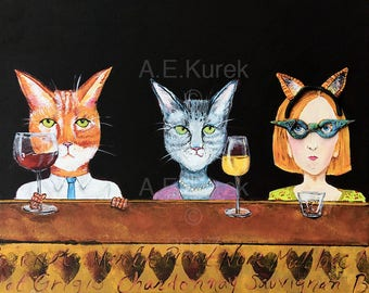 Crazy Cat Lady - Cat Art - 8 x 10  Art Print - Cats with Wine Print - Cat Lover Gift