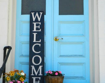 Large Welcome Sign. Distressed Wood Sign. Outdoor sign. Porch Sign.  front door sign.